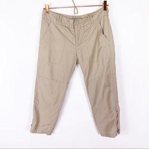 Vince Cropped Tan Lightweight Pant Zip Hem sz 2
